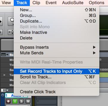 02. attivando Set Record Tracks to Input Only dal menu (o con lo shortcut alt + K) sia in registrazione che in riproduzione ascolteremo il segnale in ingresso sul canale