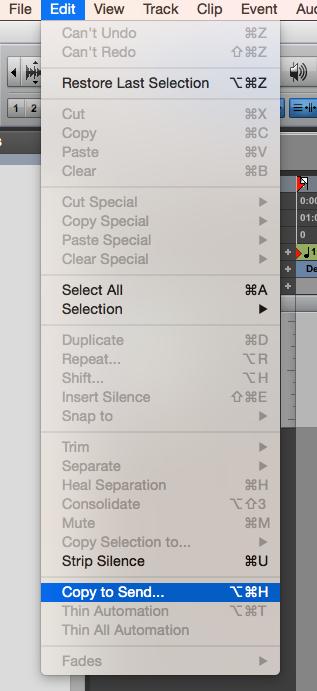 05. la funzione Copy To Send si abilita dal menu Edit o con lo shortcut alt + cmd + H per Mac alt + ctrl + H per Windows