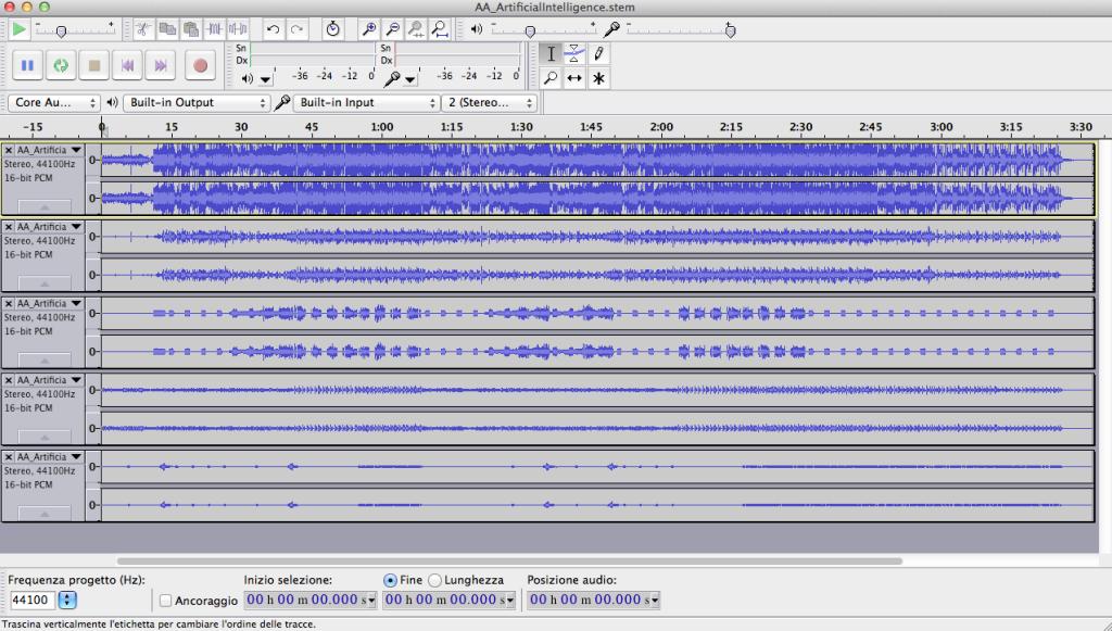 5 L'importazione degli Stem File in Audacity permette di estrarre i singoli Stem e la traccia Master da uno Stem File, purché in Audacity sia installata la suite ffmpeg