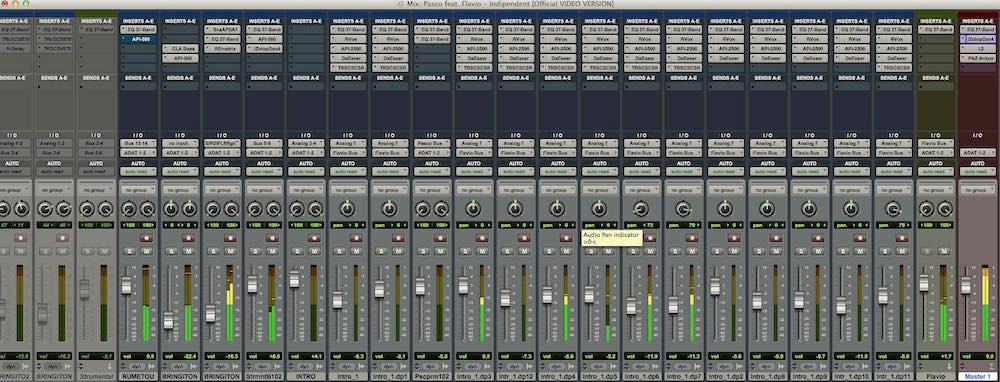 03 Il mix con i plug-in del brano, realizzato con Avid Pro Tools
