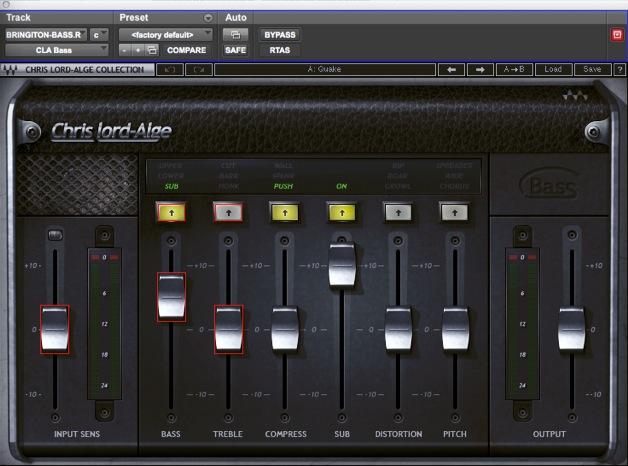 04 Le impostazioni del plug-in Waves Chris Lorde Alge per il basso