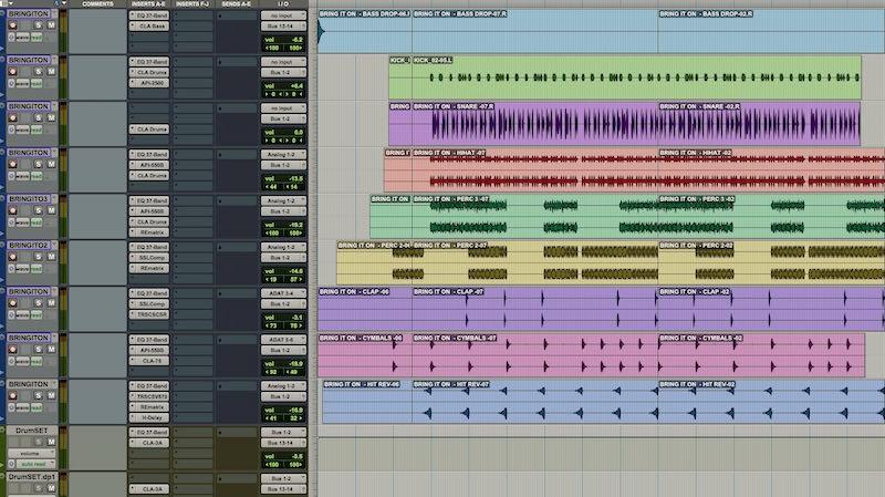 05 Le tracce drum con i relativi plug-in