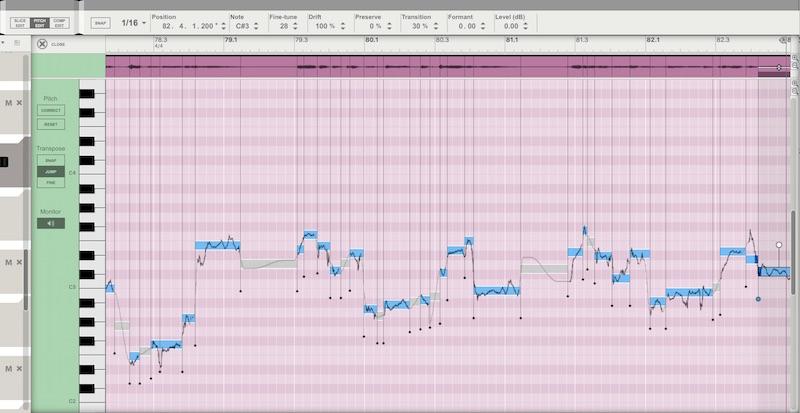 07 Pitch Edit permette di intonare porzioni di audio