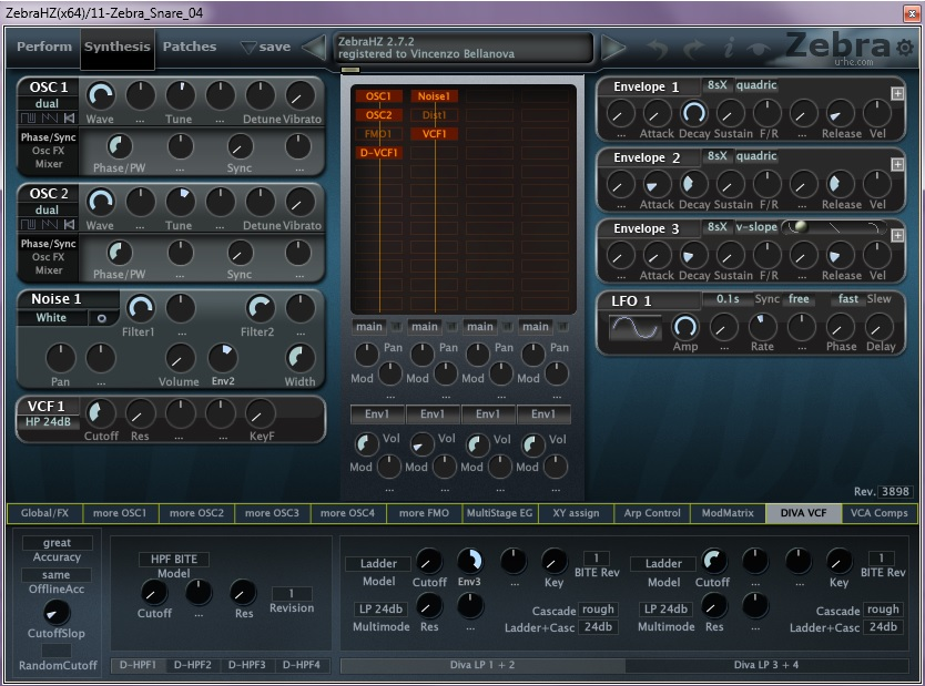 08 Snare creato con il soft synth U-He Zebra