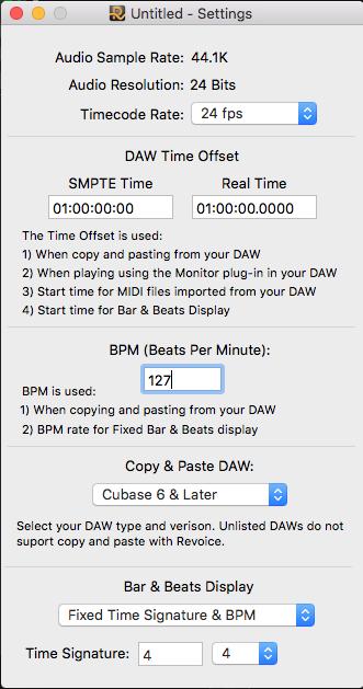2 La velocità in BPM così come il metro :3:4, 4:4 etc..) del progetto può essere impostata nella finestra settings del menù view