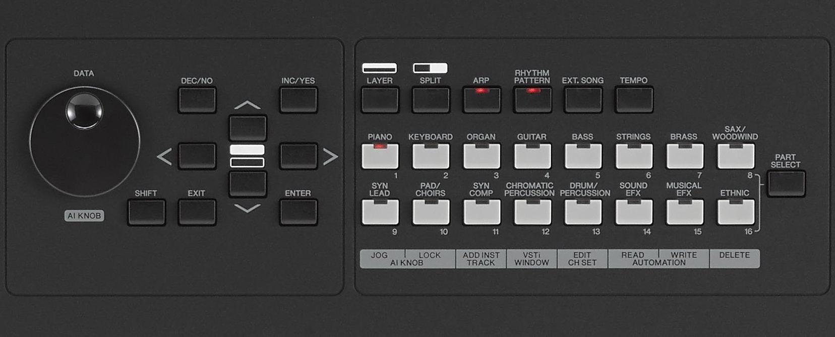 Le due aree dedicate rispettivamente alla navigazione (a sinistra) e quella per la selezione dei preset (a destra), che contiene anche le impostazioni della tastiera e gli switch per attivare l'arpeggiatore, il modo Rhythm Pattern e la visualizzazione del tempo di esecuzione