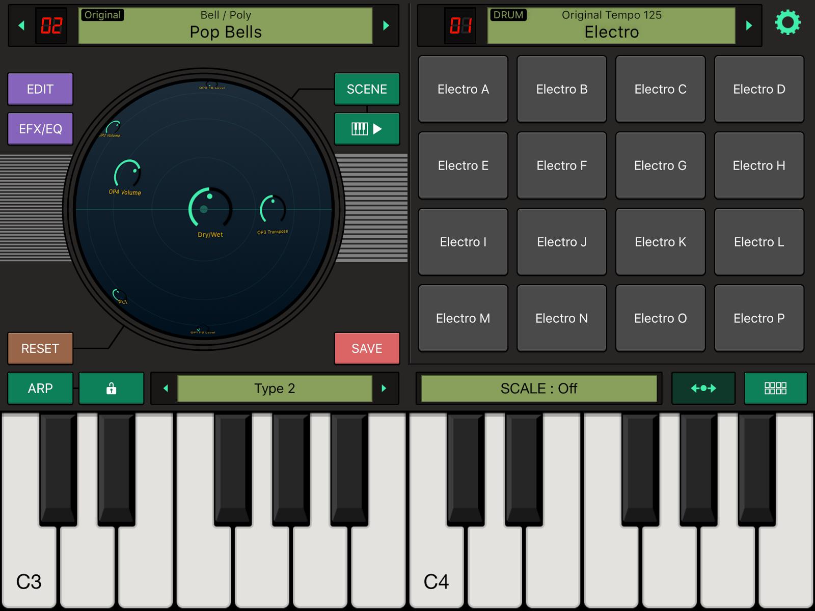 La schermata principale della app Yamaha FM Essential