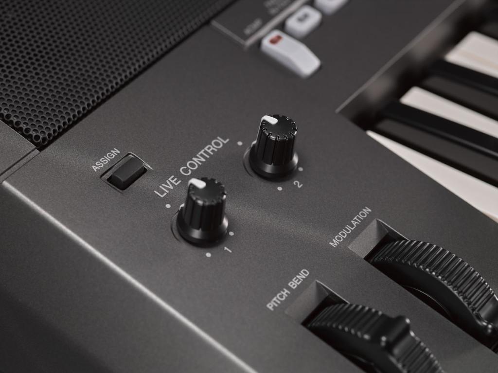 All'estrema sinistra controlli di pitch bend e mod wheel insieme a due pot per Live Control 1 e 2