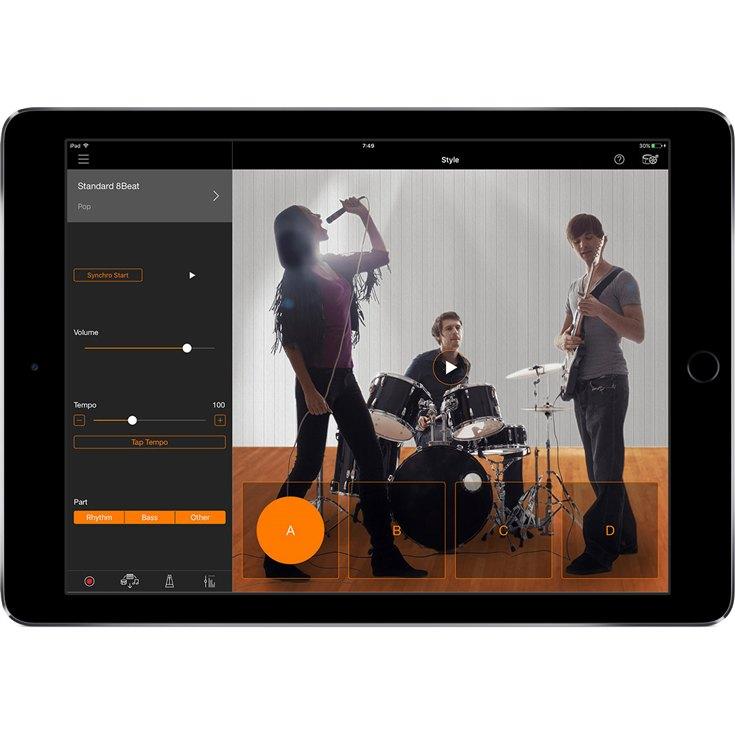 Il menu per la gestione dell'arranger nella app Smart Pianist