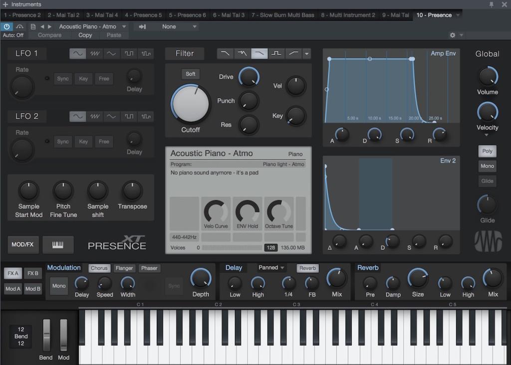 Panoramica del sample player Presence XT