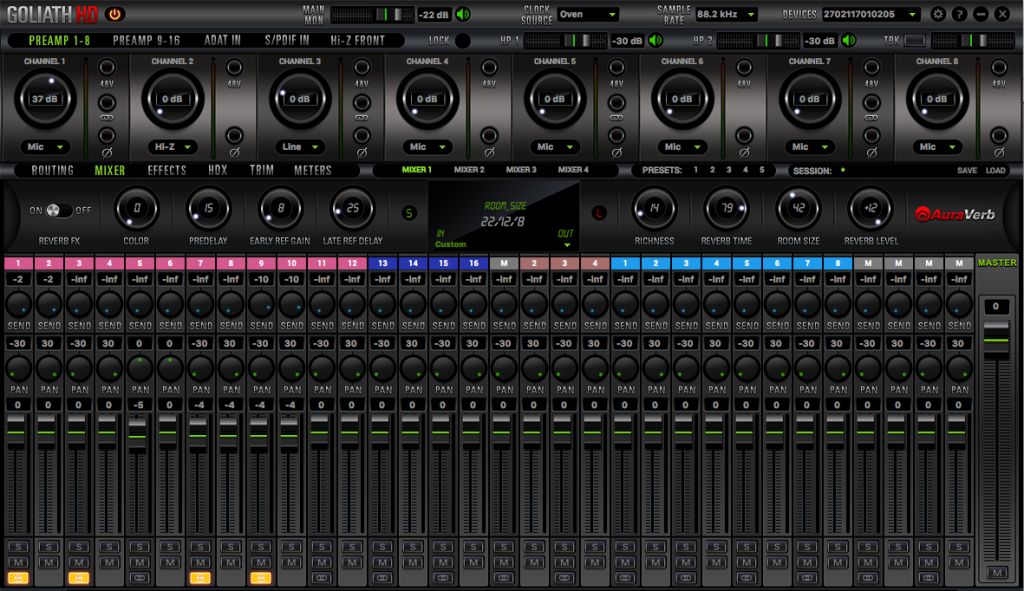 Il mixer interno di Goliath HD