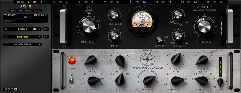 I plug-in usati per l'esempio audio di chitarra
