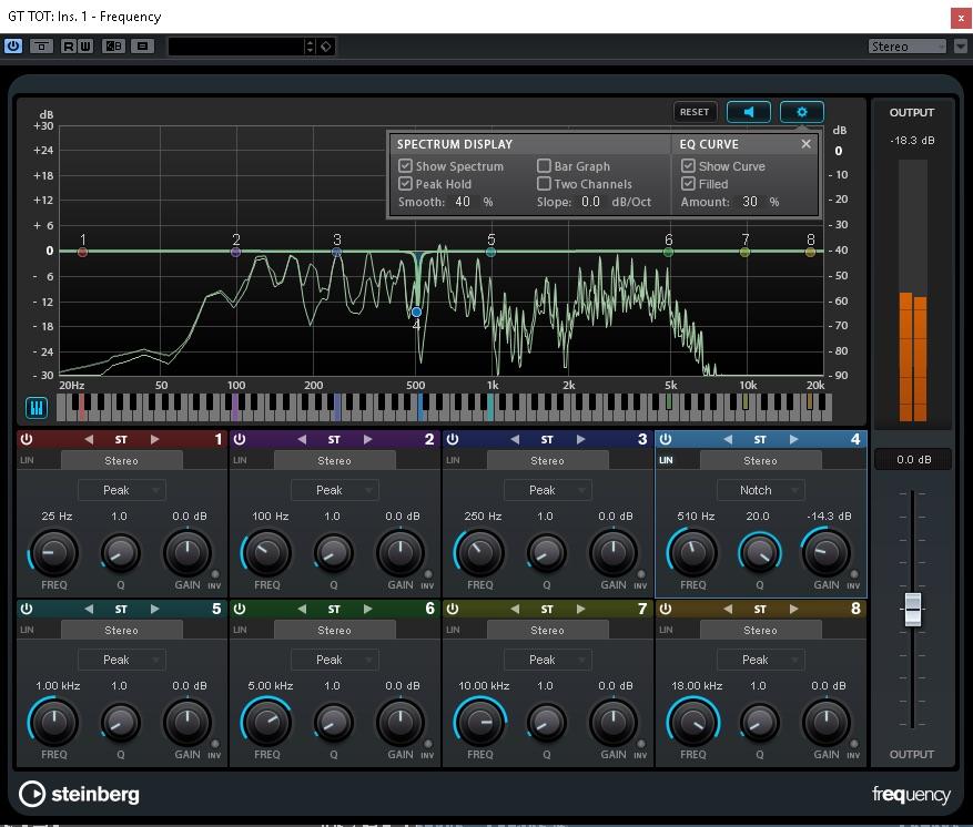 Frequency è un equalizzatore parametrico a otto bande, ognuna delle quali può funzionare a fase lineare, in stereo o in Mid-Side (M-S)