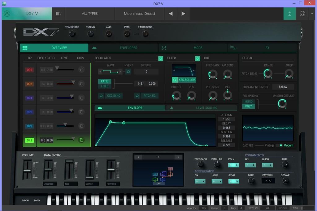 Arturia DX7 V in modalità con lo schermo esteso