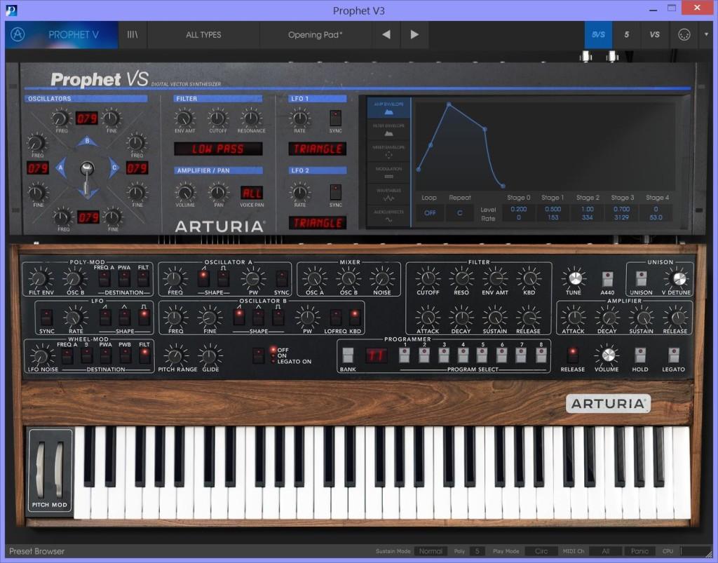 Prophet V in modalità ibrida, con gli engine virtualizzati del Prophet 5 e del VS combinati tra loro