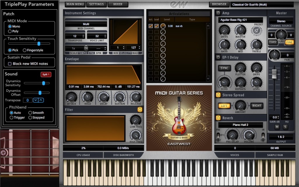 L'interfaccia principale di East West MIDI Guitar Series