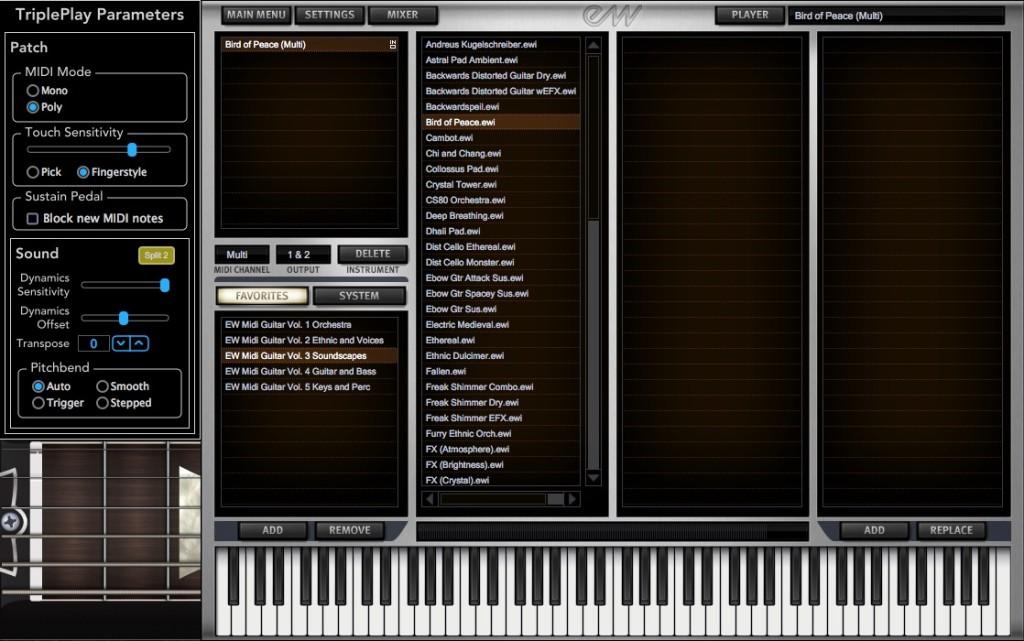 Il browser all'interno del virtual instrument