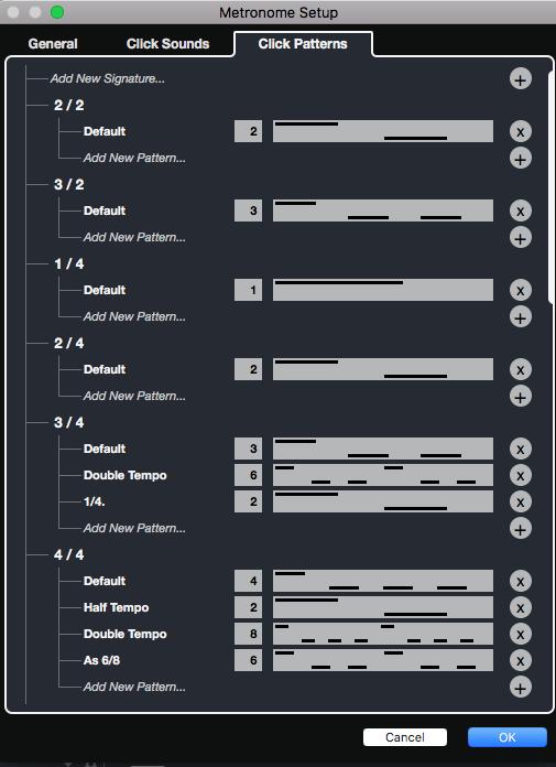 La scheda Click Patterns dove è possibile creare diversi pattern ritmici a seconda della divisione ritmica impostata nella Time Signatures