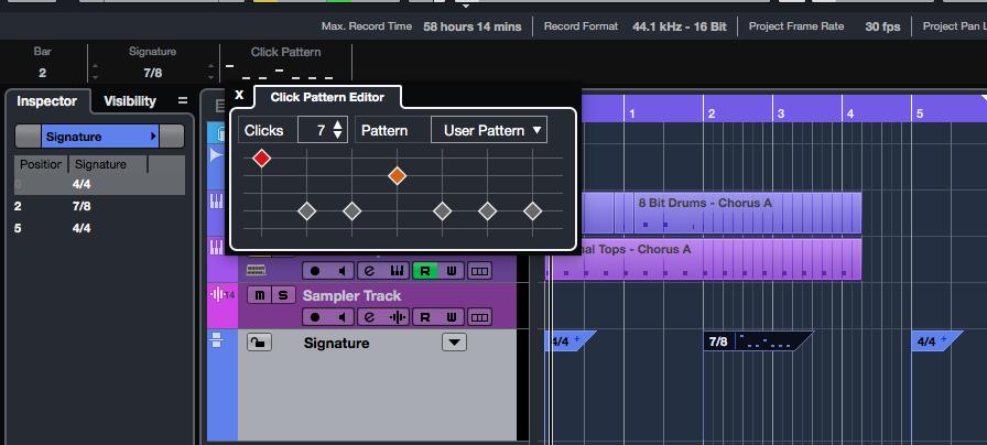 Il mini drum editor chiamato Click Pattern Editor