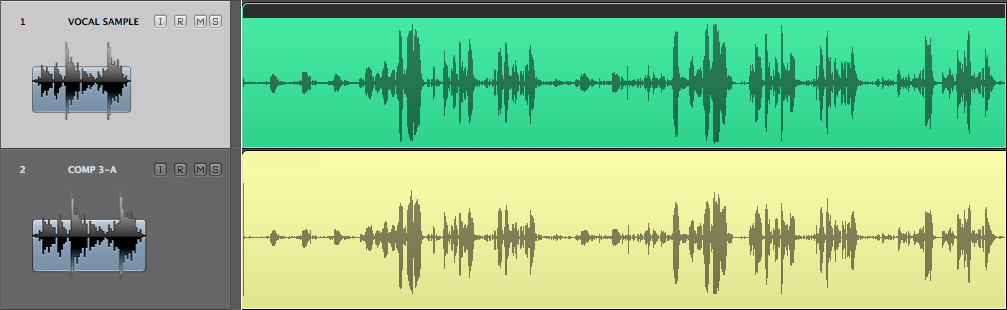 Rappresentazione grafica di una linea vocale clean in alto e processata con Comp-3A in basso