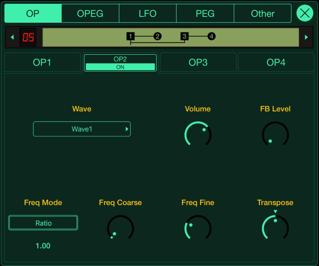 La pagina di programmazione del modulatore 2 dell'algoritmo 5 su FM Essential