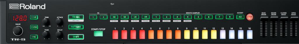 La Drum Machine TR-S con step sequencer a 16 posizioni e pulsanti Serato Sampler per l'integrazione e la riproduzione dei campioni caricati in Serato DJ