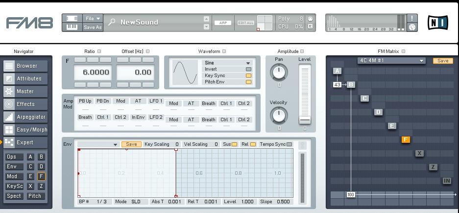 Stessa situazione su Native Instruments FM8, notare l'analizzatore di spettro in alto a destra che è comodissimo per capire cosa si sta facendo