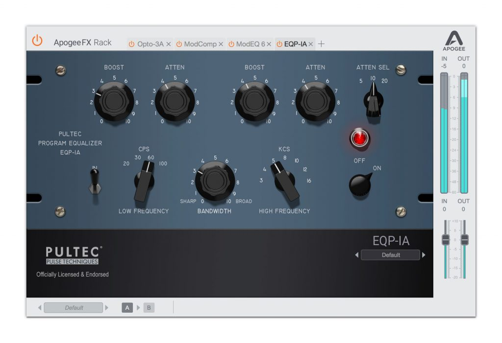 EQP-1A pultec Apogee FX Rack plug-in audio daw fx eq vintage software