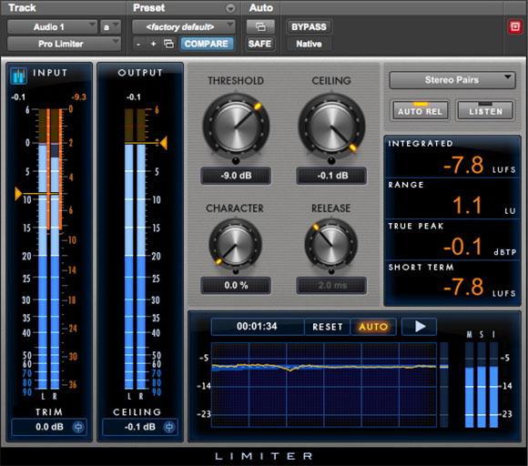Avid Pro Tools Pro Limiter plug-in audio mix master rec itb virtual