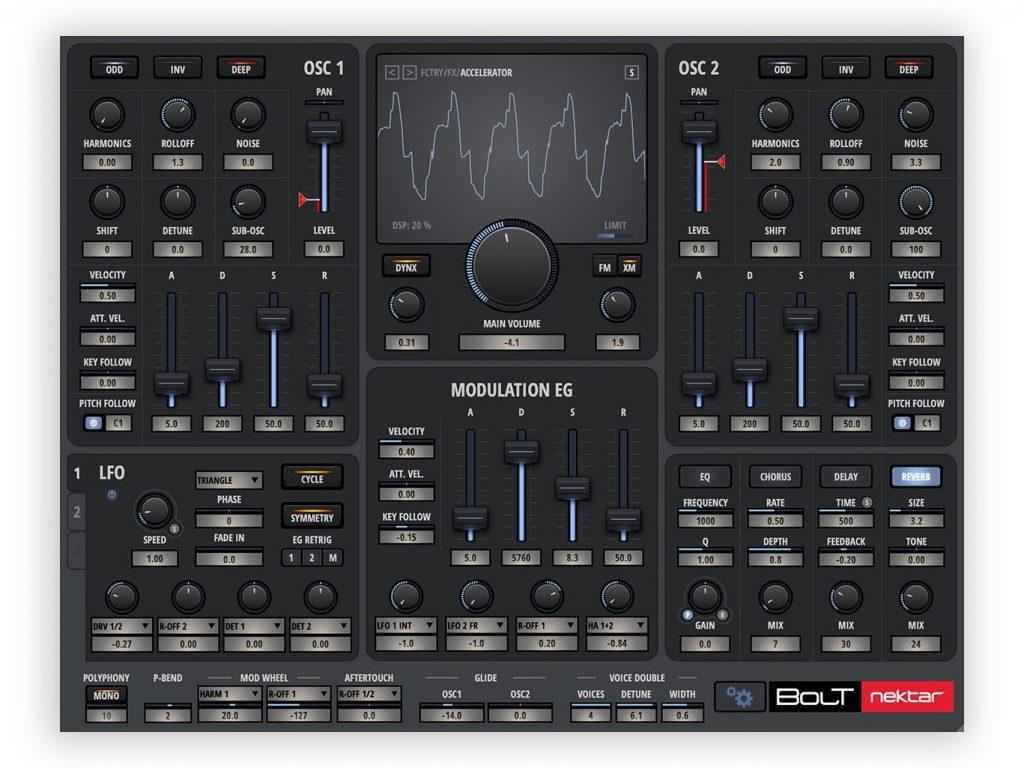 Nektar Bolt virtual instrument synth sintetizzatore strumenti musicali