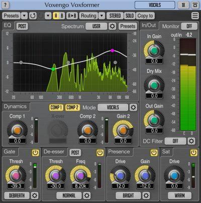 Voxengo Voxformer plug-in audio software itb mix audio pro audiofader