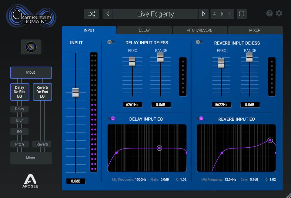 Apogee Clearmountain's Domain software plug-in daw virtual mix fx audiofader soundwave