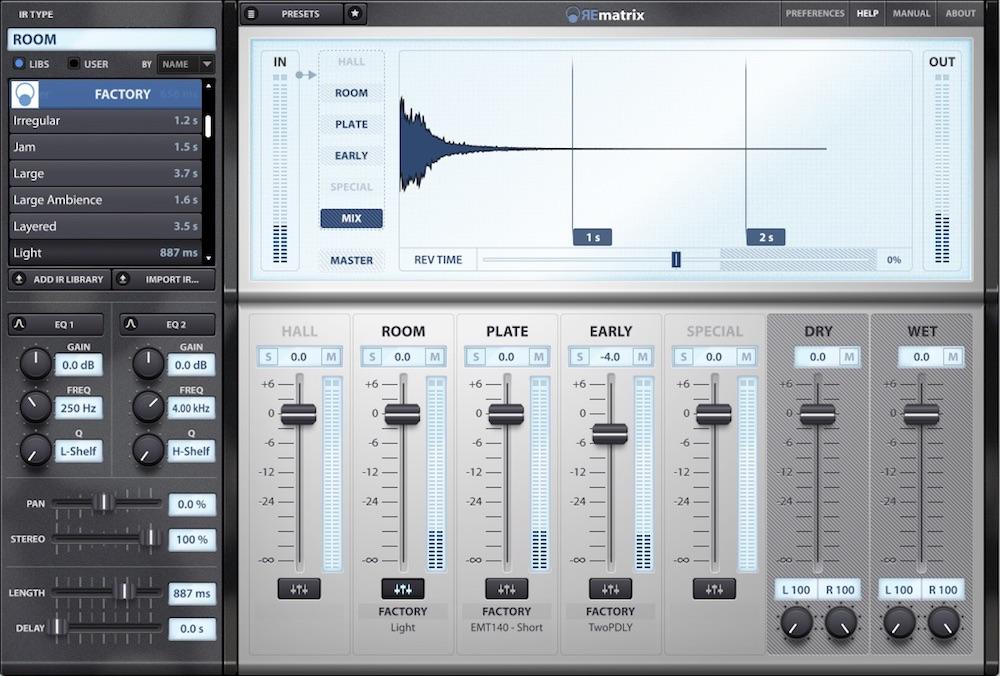 Overloud rematrix reverb plug-in audiofader fx