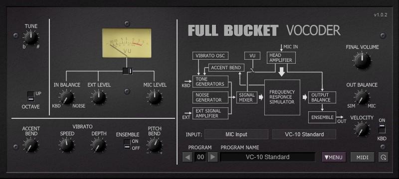 Full Bucket Vocoder plug-in audio virtual instrument audiofader