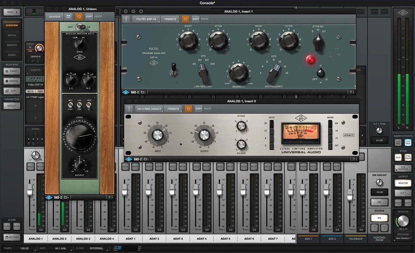 Universal Audio console application software audiofader test audio pro studio