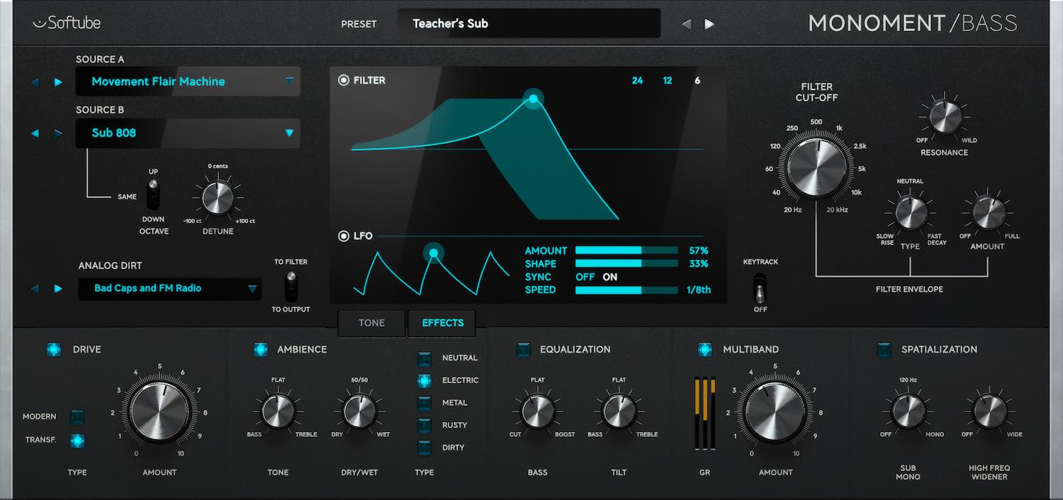Softube Monoment Bass Volume 4 plug-in bundle collection software daw virtual mix amp