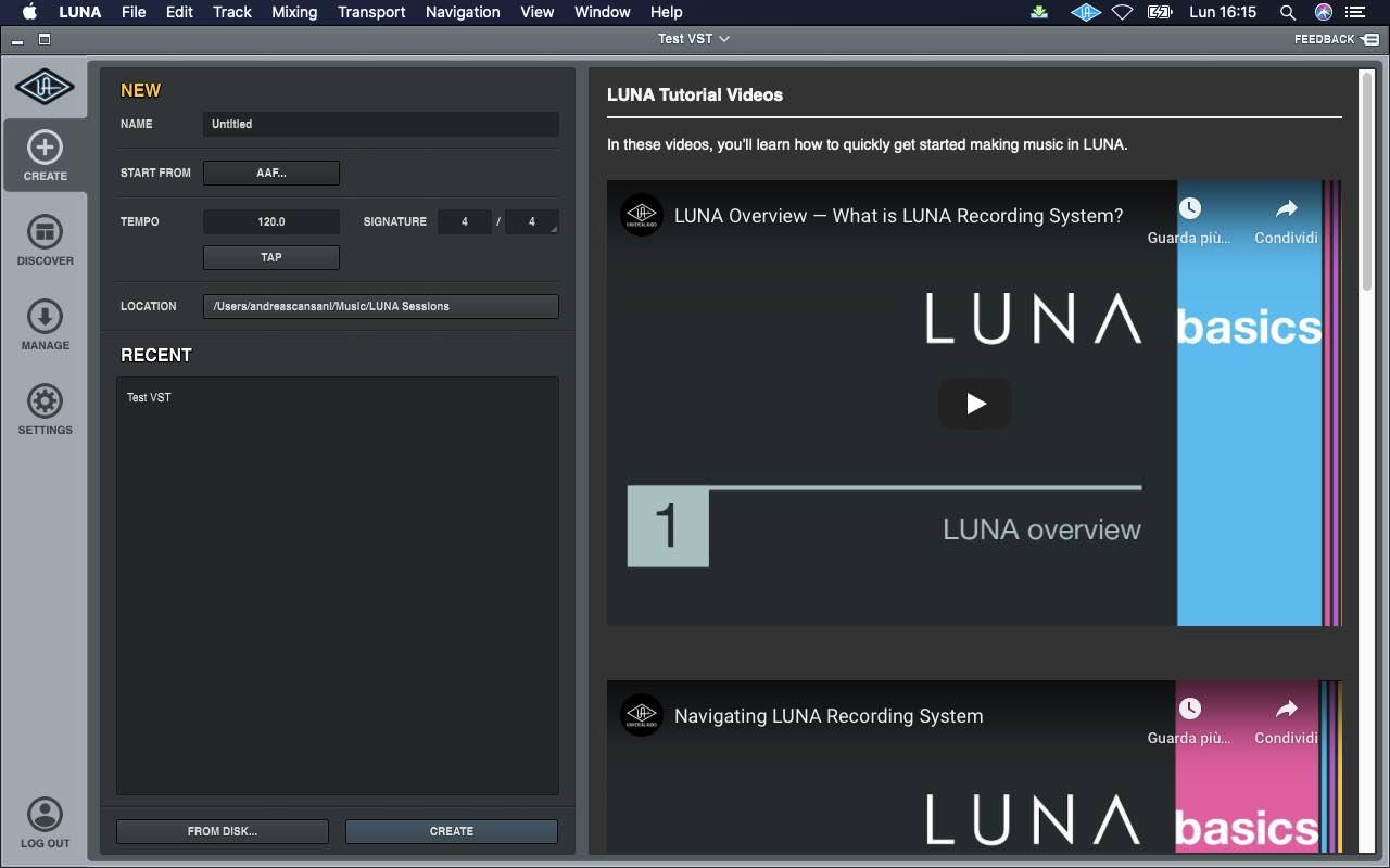 Universal Audio LUNA update uad distributore italia audiofader