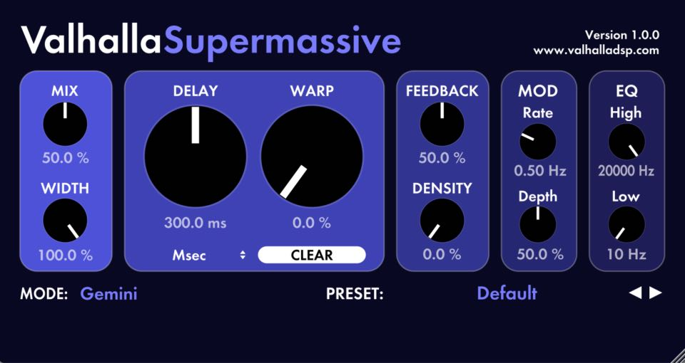 Valhalla Supermassive plug-in audio free gratis freeware delay mix mixing in-the-box daw virtual audiofader