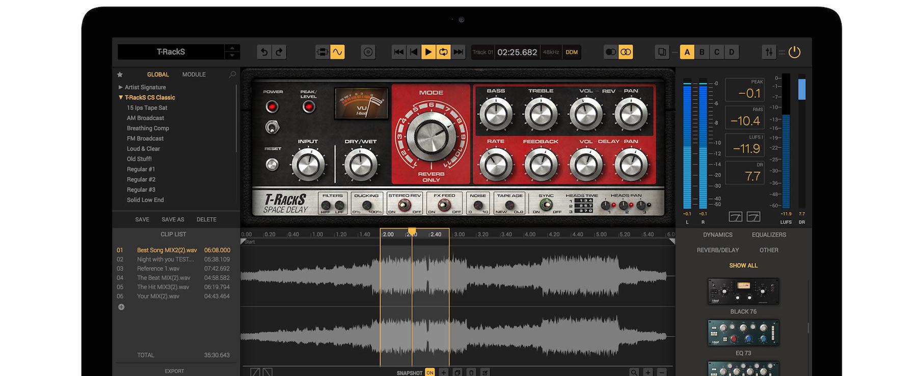 Ik Multimedia T-Racks Space Delay roland re-201 echo fx emulazione plug-in audio audiofader