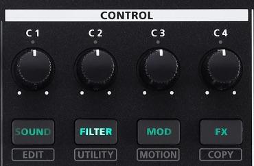 Roland MC-101 groovebox audiofader