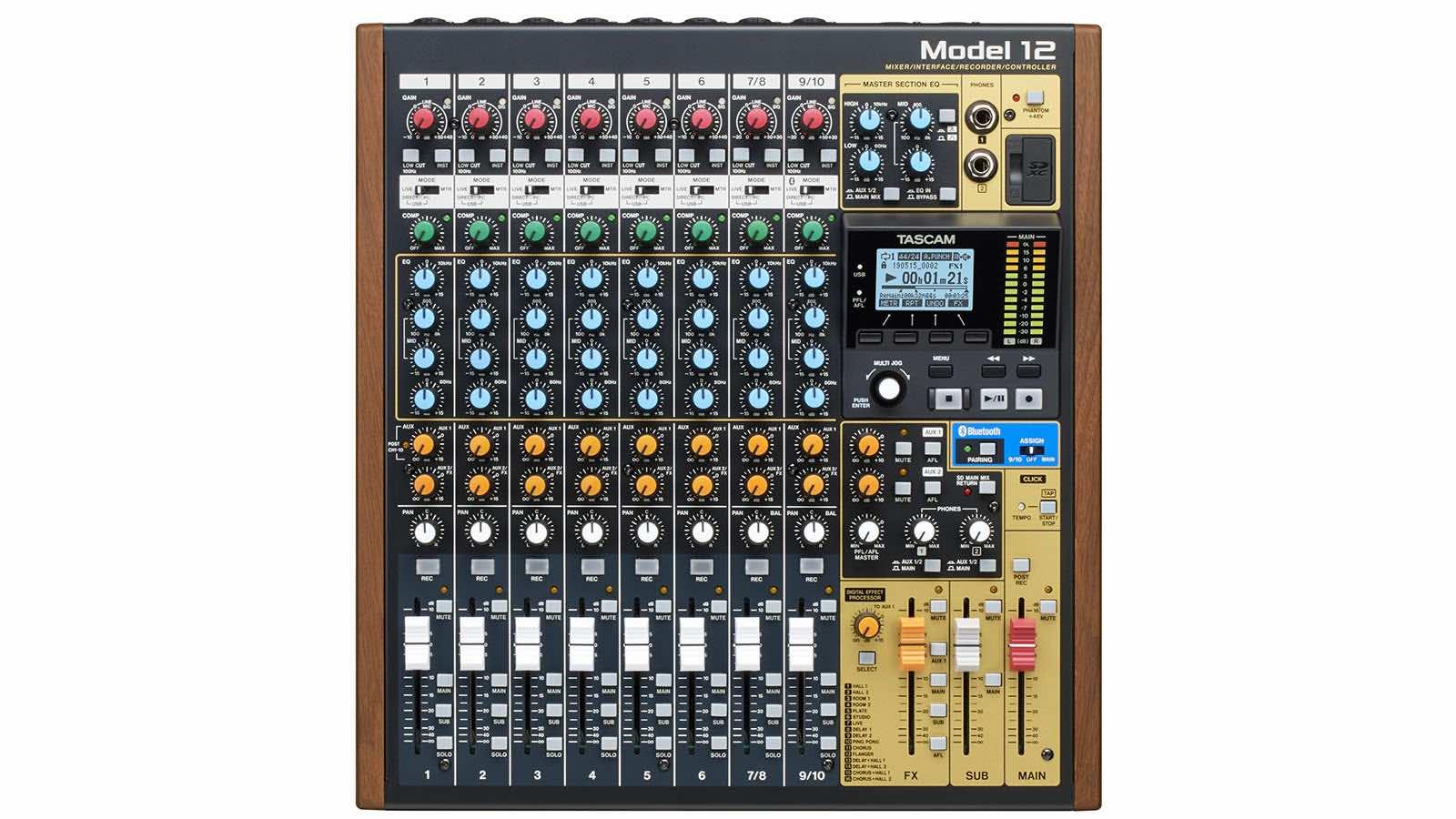 Tascam Model 12 mixer hardware digital usb rec live studio aeb price audiofader