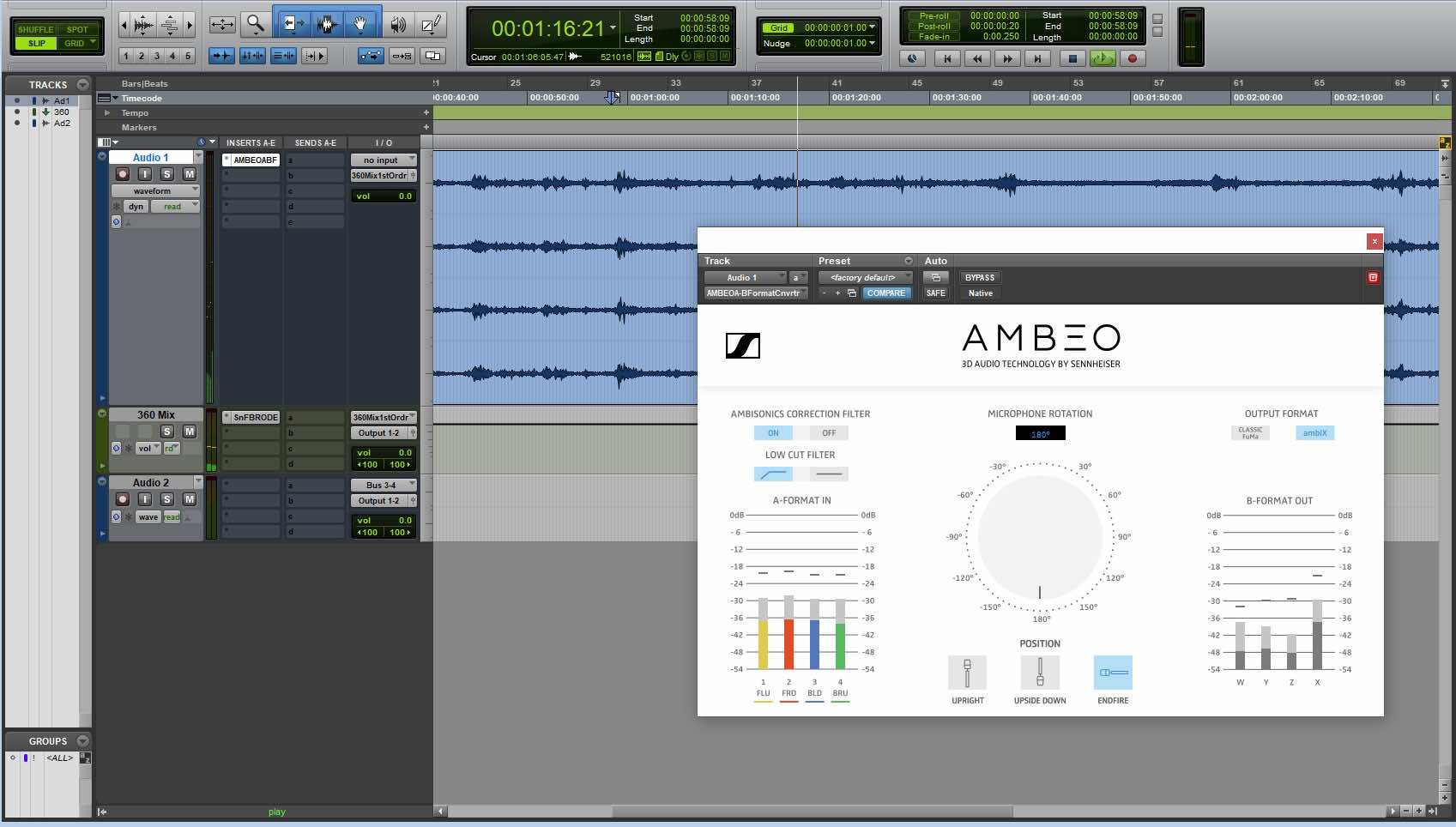 Sennheiser AMBEO VR Mic exhibo surround multicanale test audiofader avid pro tools daw software