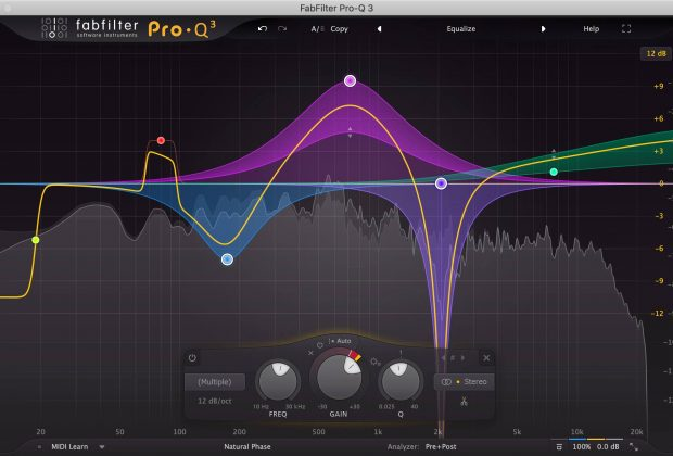 FabFilter Pro-Q 3 test eq plug-in audio mix master linear phase audifoader dinamico spectrum analyzer andrea scansani
