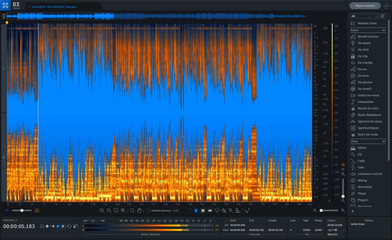 iZotope RX8 audio restore pro studio mixing repair midiware prezzo audiofader GUI