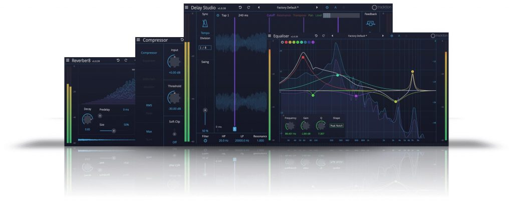 Tracktion Essential Collection plug-in audio software mixing audiofader
