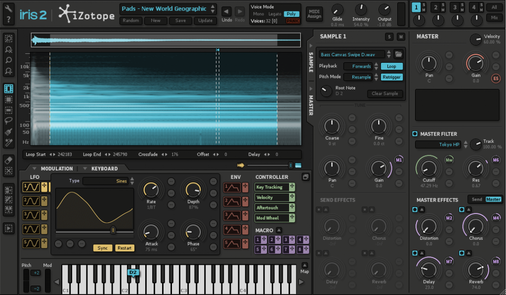 iZotope Iris 2 software soft synth virtual instrument producer music strumenti musicali midiware