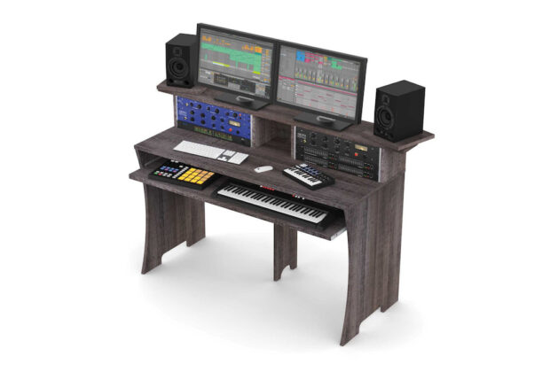 Glorious Workbench Driftwood studio desk scrivania monitor outboard recording mixing soundwave audiofader
