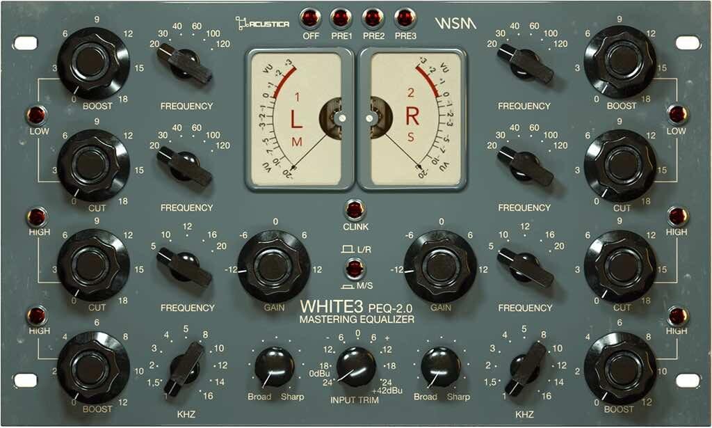 Acustica Audio White 3 eq mastering virtual wsm peq 2.0 tommy bianchi audiofader